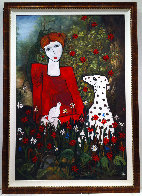 Lady in the Garden 2013 88x58 Huge Original Painting by Costel Iarca - 1