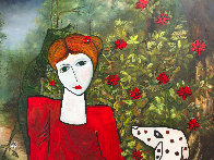 Lady in the Garden 2013 88x58 Huge Original Painting by Costel Iarca - 2