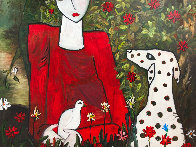 Lady in the Garden 2013 88x58 Huge Original Painting by Costel Iarca - 3