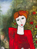 Lady in the Garden 2013 88x58 Huge Original Painting by Costel Iarca - 5