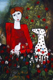 Lady in the Garden 2013 88x58 Huge Original Painting - Costel Iarca