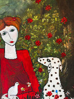 Lady in the Garden 2013 88x58 Huge Original Painting by Costel Iarca - 6