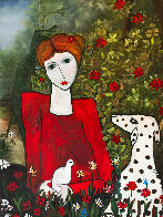 Lady in the Garden 2013 88x58 Huge Original Painting by Costel Iarca - 7