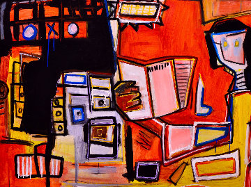 Reading At Night 2013 50x60 Original Painting - Costel Iarca