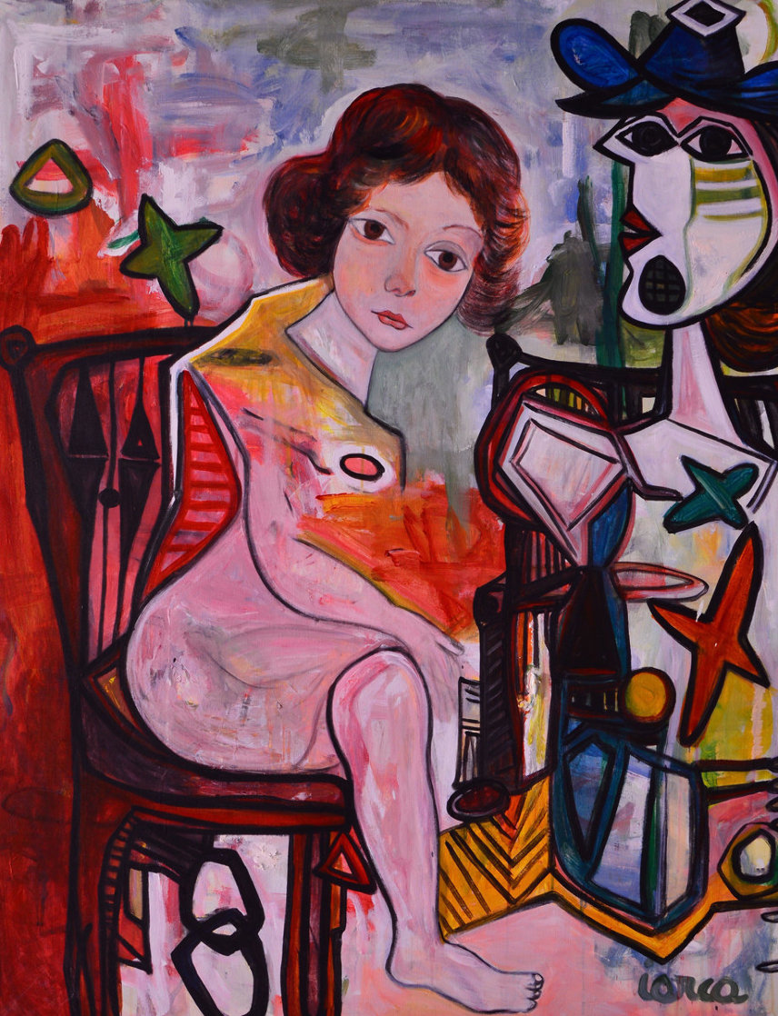Woman Laugh 2013 62x50 Super Huge Original Painting by Costel Iarca