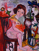 Woman Laugh 2013 62x50 Super Huge Original Painting by Costel Iarca - 0