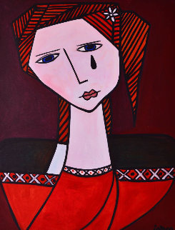 Strong Female 2013 62x50 Super Huge Original Painting - Costel Iarca