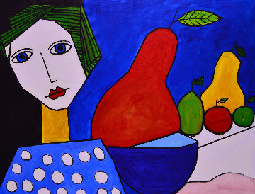 Woman And Still  Life 2013  50x62 Super Huge Original Painting - Costel Iarca