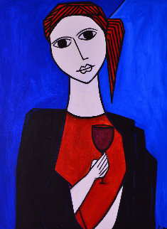 A Glass With Wine 2013 62x50 Original Painting - Costel Iarca