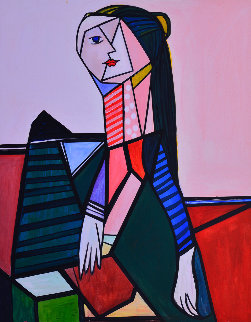 Woman in the Chair 2013 62x50  Huge Original Painting - Costel Iarca