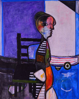 Role of Woman 2014 62x50 Huge Original Painting - Costel Iarca