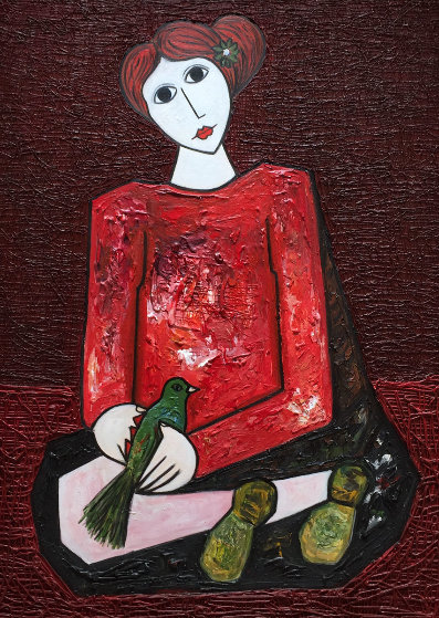 Woman in Red 3-D 2016 58x46  by Costel Iarca