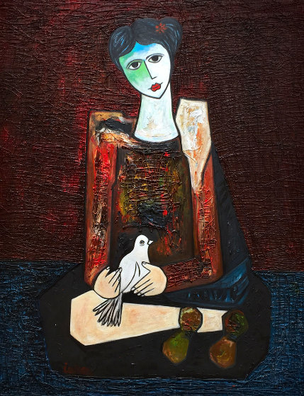 Woman in Waiting 3-D 2017 70x58 Original Painting by Costel Iarca