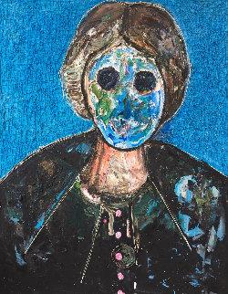 Man in Blue 3-D 2018 62x50 Original Painting - Costel Iarca