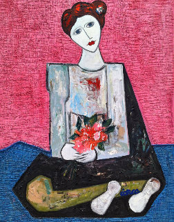 Woman With Flowers 3-D 2017 62x50 Original Painting - Costel Iarca