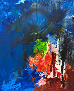 Blue House 2019 72x62 Original Painting - Costel Iarca