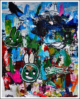 Look Through the Ads 3-D 2014 72x62 Huge Original Painting - Costel Iarca