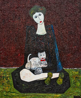 Woman With Cat 2016 72x60 3-D Original Painting - Costel Iarca