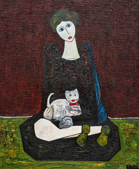 Woman With Cat 2016 72x60 3-D by Costel Iarca