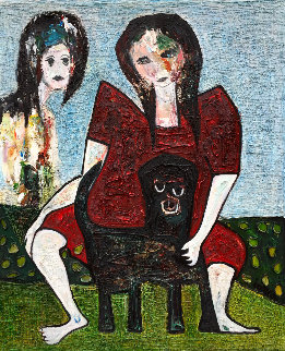 Sisters 3-D 2016 72x60 Original Painting - Costel Iarca