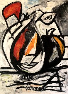 Untitled Painting 2000 49x38 Original Painting - Costel Iarca