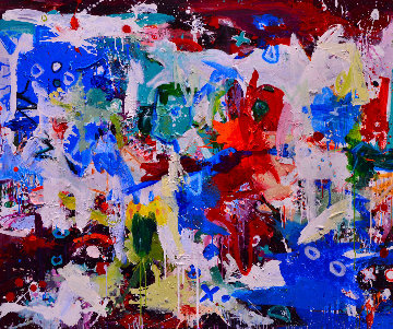 Dinner And the Movies 2017 62x74 Huge Original Painting - Costel Iarca