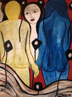 Untitled Portrait  2001 48x36 Huge  Original Painting - Costel Iarca