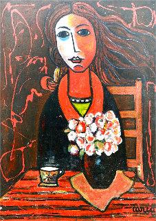 Woman in Waiting 2005 50x38 Huge Original Painting - Costel Iarca