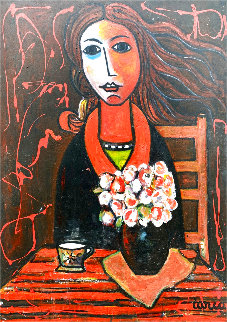 Woman in Waiting 2005 50x38 Super Huge Original Painting - Costel Iarca