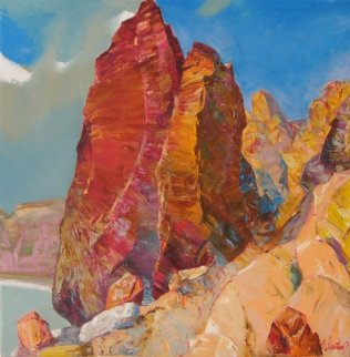 Couple, Landscape Crimea 2010 29x29 Original Painting - Sergey Ignatenko