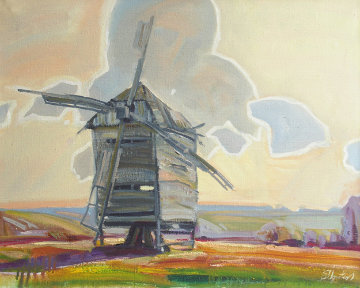 Wind Mill 2008 22x28 Original Painting - Sergey Ignatenko
