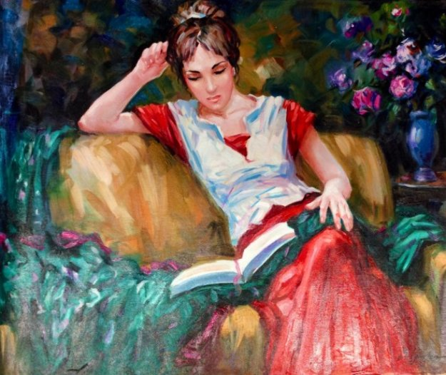 Girl Reading 30x24 Original Painting by Sergey Ignatenko