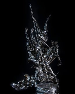 St. George And the Dragon Stainless Steel Sculpture 36 in Sculpture - Boban Ilic