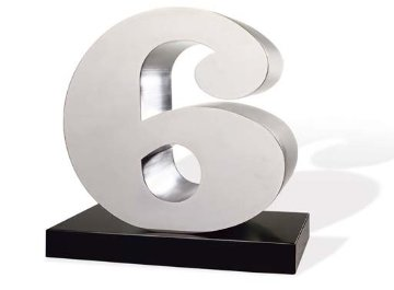 Number 6 Stainless Steel Sculpture AP 17 in Sculpture - Robert Indiana