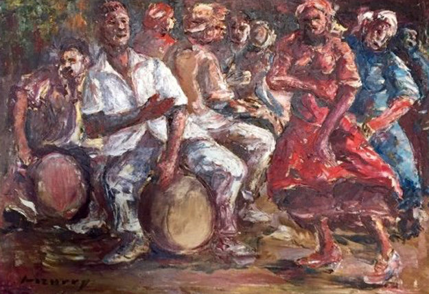 Untitled Painting 1980 31x39 Original Painting by Epifanio Irizarry