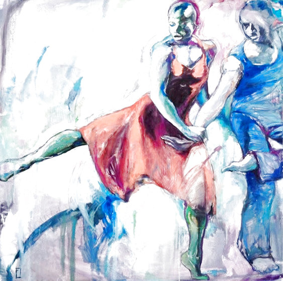 Ailey Dancers 48x48 Original Painting by Rachel Isadora
