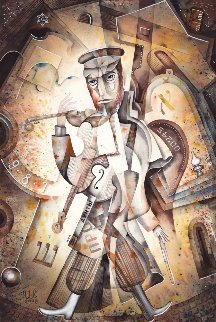 Melody of the Jewish Quarter Watercolor  2008 23x15 Watercolor by Eugene Ivanov