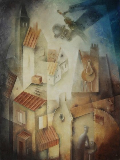Fiddler Above the Roofs 2018 31x23 Original Painting by Eugene Ivanov