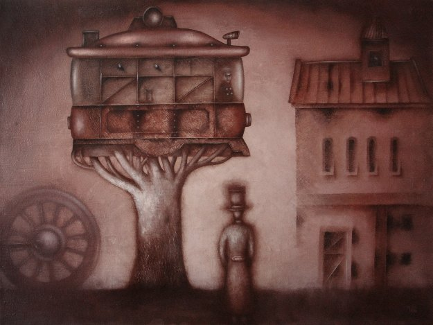 Contemplation of the Tram Growth 2018 23x31 Original Painting by Eugene Ivanov