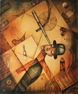 Man At the Port 2018 23x19 Original Painting by Eugene Ivanov