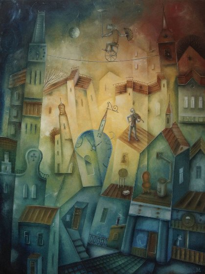 Night Melody For Violin 2018 31x23 Original Painting by Eugene Ivanov