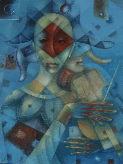 Masquerade No. 6. Harlequin 2019 31x23 Original Painting - Eugene Ivanov