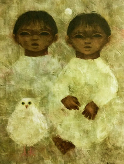 2 Children With Bird 32x27 Original Painting by Carol Jablonsky