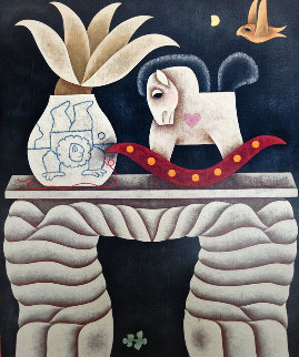 Rocking Horse Table 1985 33x39 Huge Original Painting - Carol Jablonsky