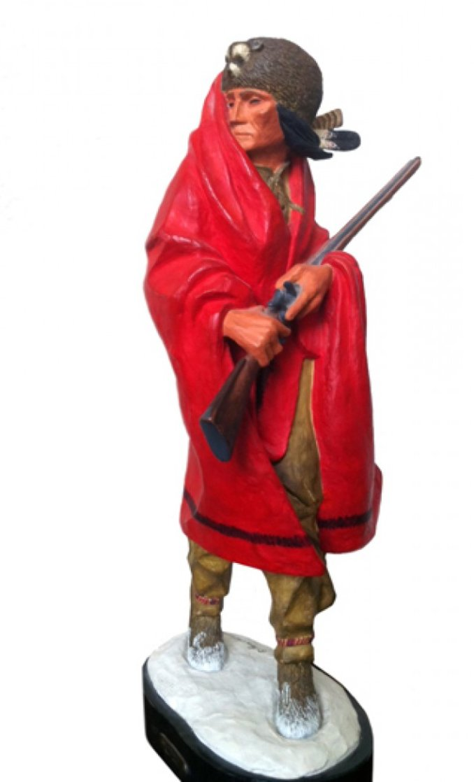 Iroquois Guide II Polychrome Sculpture 1980 Sculpture by Harry Andrew Jackson