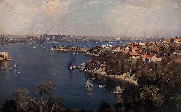 Mosman Bay, Sydney Harbor 1926 30x42 Original Painting - James Ranalph Jackson