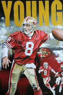 Steve Young on the Run 2016 35x25 Original Painting - Joshua Jacobs