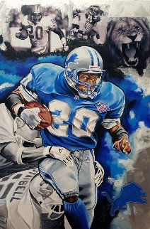 Barry Sanders, Lion's on the Loose 2016 25x35 Original Painting by Joshua Jacobs