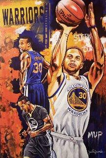 Stephen Curry, Golden Boy 2016 25x35 Original Painting - Joshua Jacobs