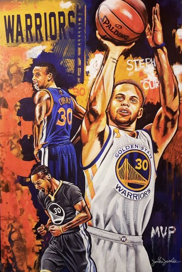 Stephen Curry, Golden Boy 2016 25x35 Original Painting by Joshua Jacobs